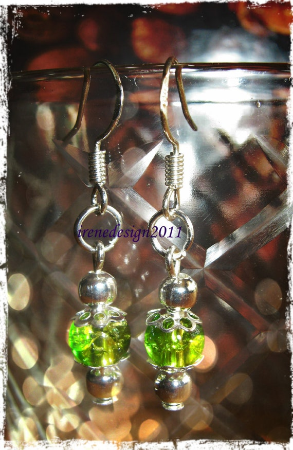 Silver Hook Earrings with Green Pearl