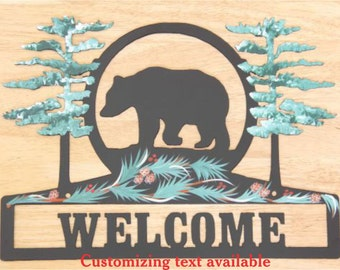 Bear Sign - Metal - Welcome - Personalized - Folkart Painting