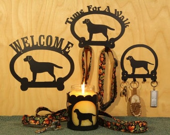 Labrador Retriever Welcome Sign, Time for A Walk Leash Hook, Key Rack, Candle Holder for Yankee Type Jar Candles