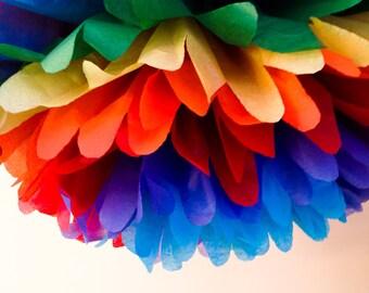 1 rainbow tissue paper pom poms ,pom,poms,party poms ,birthday poms ,hanging poms ,event decoration,nursery pom poms,paper pompoms