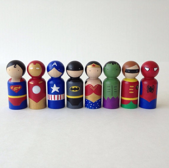 Superhero peg dolls 5pc Set
