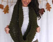 Olive Green Infinity Scarf |  Handmade, Warm, Soft and Cozy!