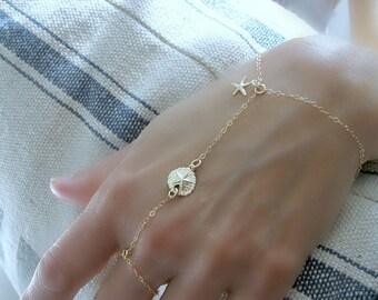 Hand Chain Ring 14k Gold Slave Bracelet Ring Bracelet Sand Dollar Chain Bracelet Starfish Chain Finger Bracelet Bracelet Ring Chain gift
