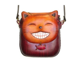 Lucky Cat Pouch Purse /  Crossbody Bag /  Shoulder Purse /  Genuine Leather Bag