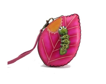 Caterpillar on Leaf Wristlet /  Coin Purse /  Genuine Leather /  Wrist Purse /  Pink