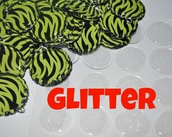 COMBO 50 Lime Green Zebra Bottle Cap Pendants AND 50 Glitter epoxies, Flat bottle caps with split rings attached, bottlecaps & epoxy DIY