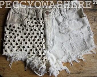 Vintage 1980's rag high waist cut off shorts hippie ombre massive stud denim Festival moto Sunfade boho