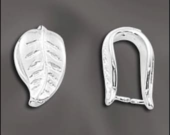Sterling Silver Pinch Bail, Leaf Shaped Pinch Bail, 925 Pendant Bail, Leaf Design, Wholesale Sterling Silver Findings, 1 PC