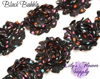Shabby Rose Trim Black Bubble - Shabby Flower Trim - Wholesale Trim - Chiffon Flower - Shabby Chic - Rose Trim - Shabby Trim