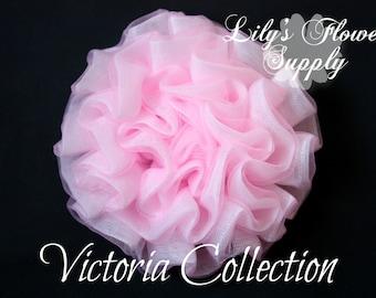 New Vintage Light Petti Puff - Light Pink Puff - Chiffon Flower - Ruched Flower - Embellishment - Headband Supply - Victoria Collection