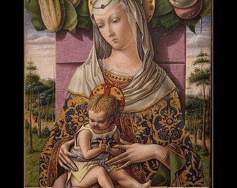 "Carlo Crivelli, Madonna and Child, c. 1480, Religion, Spiritual, Mary, Jesus,  8x10"" Cotton Canvas Print"