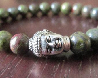 Buddha Bracelet with Bloodstone, Dragons Blood, Heliotrope,  Yoga Jewelry, Meditation Bracelet, Mens Bracelet, Reiki, Buddhism