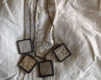 Vintage lace necklace soldered glass