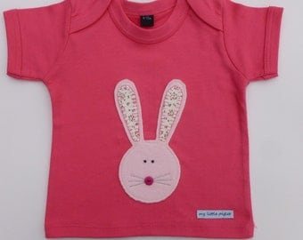 Bunny t-shirt for  little girls size 3-6mths, 6-12mths, 12-18mths