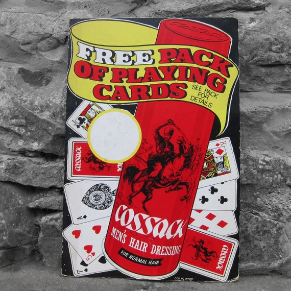 Vintage Old 1950s Cossack Mens Hair Original Advertisting Poster Playing Cards Barbour Salon Wall Art Display Retro