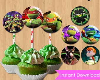 Teenage Mutant Ninja Turtles Cupcake Toppers - INSTANT DOWNLOAD TMNT Printable 2 inch Birthday Party Circles Favor Tags matches Invitations