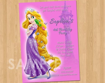 Tangled Party Invitation - Rapunzel Tangled Invitation- Tangled Birthday Invitation Pink or Purple - Tangled Birthday Printable Rapunzel