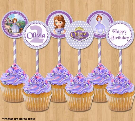 Princess sofia cupcake toppers sofia the first printable 2 inch