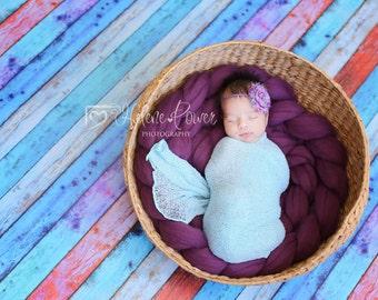 Newborn Stretch Knit Wrap Photo Prop Powder Blue