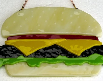 Fused Glass Cheeseburger Suncatcher