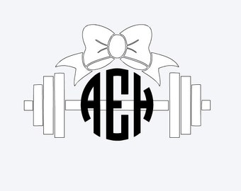 Barbell, Bow & Initials Vinyl Decal