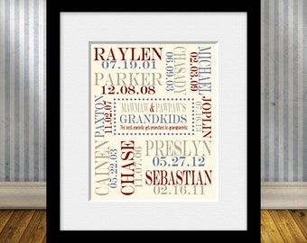 SPECIAL OCCASION Gift for Grandparent, Grandparent Gift, Grandchildren Name and Birthdate Print, Christmas Gift for Grandparents,