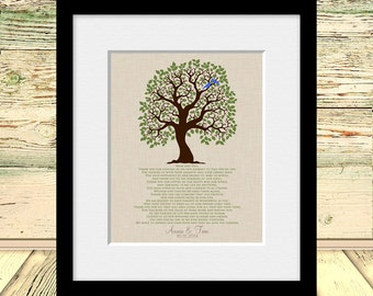 Wedding Tree Print, Mom and Dad's Gift, Parent's Thank You Gift, Wedding Day Poem for Parent's, Thank You Poem, Parent's Wall Art