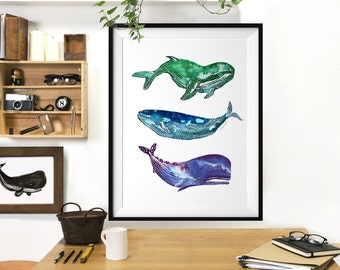 Whales watercolor painting, Whales poster, Whales art print, Nautical art, Bathroom wall art, Sea life art, Ocean art Buy 2 get 1 free