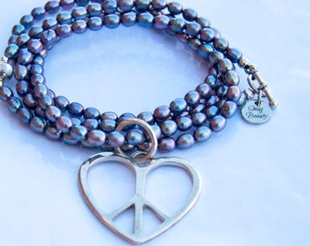 Peace, Love and Flower Power Necklace - peacock pearls, inlay bead and sterling silver pendant