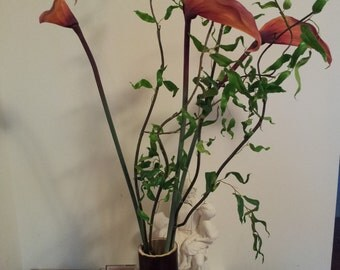 Espresso Bamboo Vase-Large (Fire Stained)
