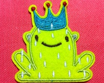 Cartoon  Frog Prince ( Llime Light Blue Red ) ( 5.5 x 6cm ) Embroidered Iron on Applique Patch (Al)