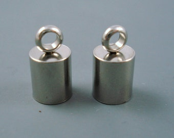 5MM Stainless Steel End Cap, TWO Pieces, Cap for Leather or Cord, 4-5mm Cap (SSC5-3)