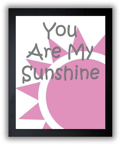 You Are My Sunshine Nursery Art Nursery Print Baby Art Sun Pink Grey Gray Decor Child Baby Art Print