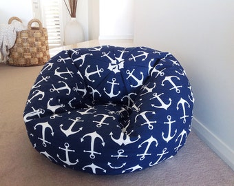 Bean Bag Kids Teenagers Adults Cover Coastal Anchors Navy