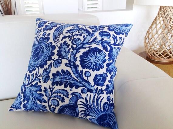 Porcelain Blue Decorative Pillows : Linen Porcelain Blue & White Cushions Linen Floral Birds