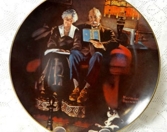 Norman Rockwell Wall Plate Evenings Ease Light Campaign Series Knowles 1983 Vtg