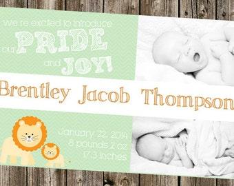 Baby Announcement- Pride & Joy Lion