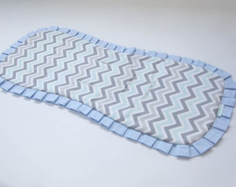 Ready-to-ship Natural and Reversible Pram Liner / Stroller Liner with Baby Blue ruffles, Bugaboo, Peg Perego, Inglesina, Baby Jogger etc