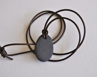 BC Canada Natural River Stone Hung on Dark Brown Natural Leather Cord