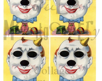 Big Headed Clown French Game Digital Download Collage Sheet