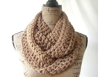 Infinity Scarf Toasted Almond Brown Cowl Scarf Fall Winter Women's Accessory Infinity