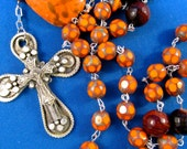 beautiful rosary, handmade, blue, sterling silver cross with choice of turquoise artistic center Petebeadrosay