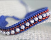 PATRIOT - crochet beaded bracelet in national colors - blue, red, white