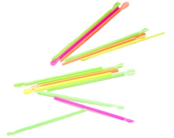 """8 """" Neon Spoon Straws wrapped - 200ct"""
