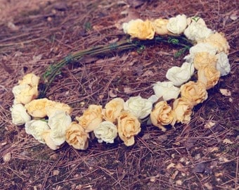 withe yellow wedding flower crown, bridal veil, rose flower crown, headband, hair accessories, hand made