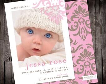 Simple Flourish Digital Baby Announcement