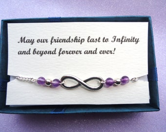 Infinity anklet, Friendship gift, Silver infinity amethyst ankle bracelet Infinity jewelry Amethyst ankle bracelet, Bridesmaids gifts