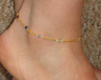 Chakra anklet, Chakra swarovski crystal ankle bracelet, Ankle jewelry, Gold chakra bracelet, Ankle bracelet UK, Meditation jewelry,Gifts