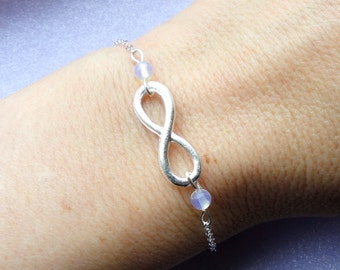 Infinity moonstone bracelet, Silver infinity moonstone bracelet, Silver bracelet, Infinity jewelry, Bridesmaids gifts