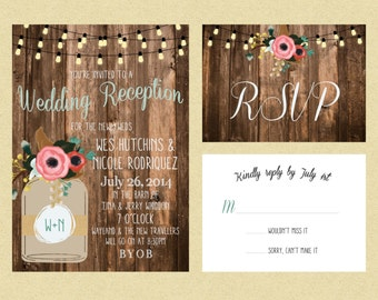 Rustic Lights & Mason Jar WeddingReception Invitations; Printable OR set of 25
